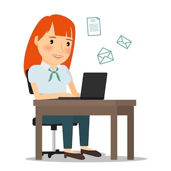Kobieta z laptopu dosłania emailem