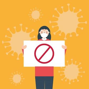Kobieta z maski medyczne i ban baner zarządu