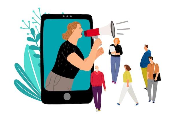 Kobieta z megafonem. marketing w mediach społecznościowych, koncepcja wektora promocji mobilnej z małymi ludźmi