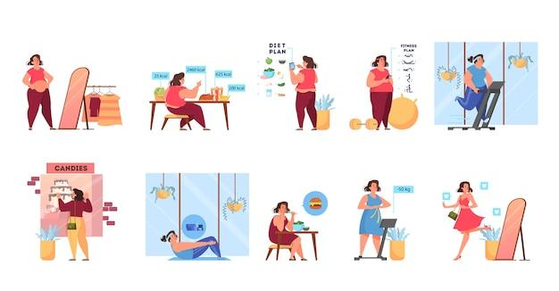 Kobieta z nadwagą staje się cienka. idea fitnessu i zdrowej diety. proces utraty wagi. kobieta z dużym brzuchem, osoba cierpi na otyłość. ilustracja w stylu kreskówki