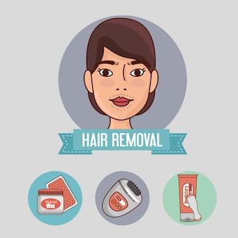 Kobieta z narzędzi do usuwania włosów