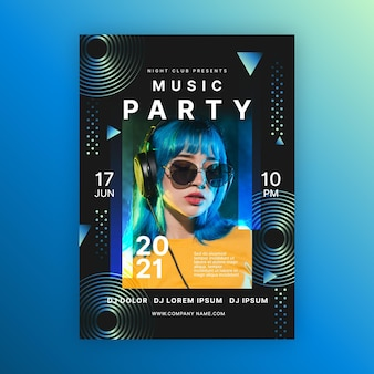 Kobieta z niebieskimi włosami muzycznego wydarzenia plakata szablonem