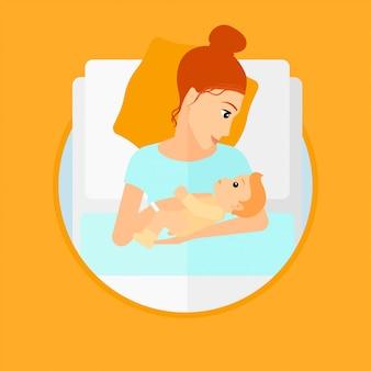 Kobieta z noworodkiem na oddziale położniczym.