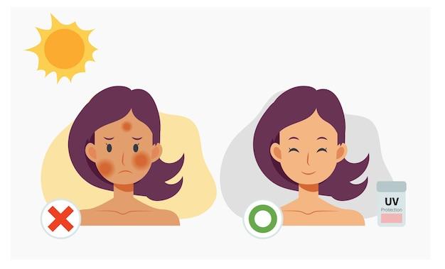 Kobieta z ochroną przeciwsłoneczną. przed i po zastosowaniu ochrony uv. płaska ilustracja