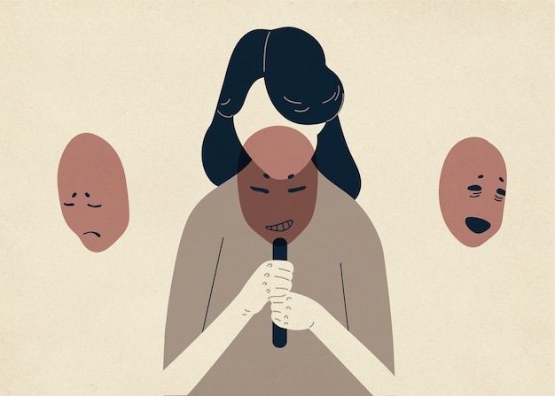 Kobieta z opuszczoną głową zakrywającą twarz maskami wyrażającymi różne emocje