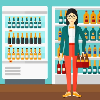 Kobieta z paczką piwa