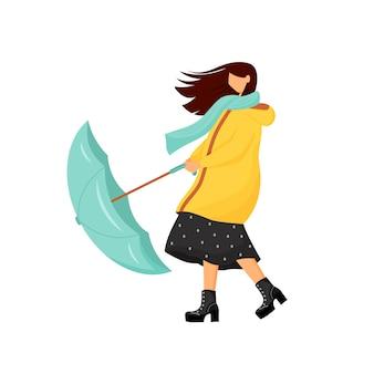 Kobieta z parasolem w burzy płaski kolor bez twarzy. damski strój na deszczową jesień. płaszcz przeciwdeszczowy na spacer na świeżym powietrzu w zimnych porach roku. ilustracja kreskówka na białym tle wietrznej pogody
