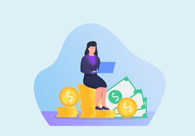 Kobieta z pieniężnym celem pracuje na laptopie z nowożytnym