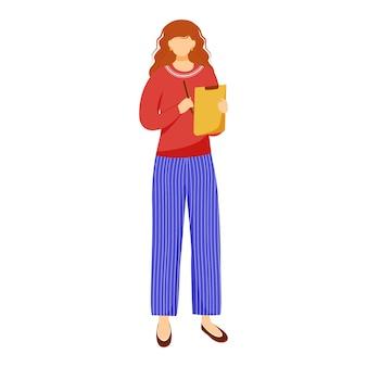 Kobieta z płaską ilustracją schowka. wolontariusz, kierownik biura, pracownik opieki społecznej na białym tle postać z kreskówki na białym tle. działacz zbierający podpisy. badanie opinii publicznej, badania