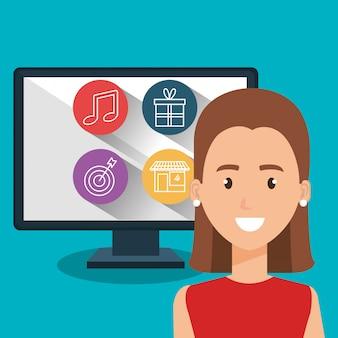 Kobieta z postacią komputera