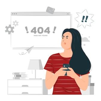 Kobieta z powiadomieniem o błędzie 404. strona nie została znaleziona ilustracja koncepcyjna