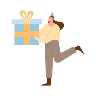 Kobieta z prezentem z okazji urodzin