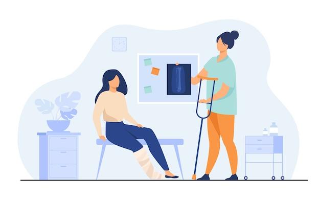 Kobieta z ranną złamaną nogą w gipsie siedzi w gabinecie lekarskim, biorąc zdjęcie rentgenowskie i kulę. ilustracja wektorowa na uraz, szpital, leczenie, koncepcja fizjoterapii