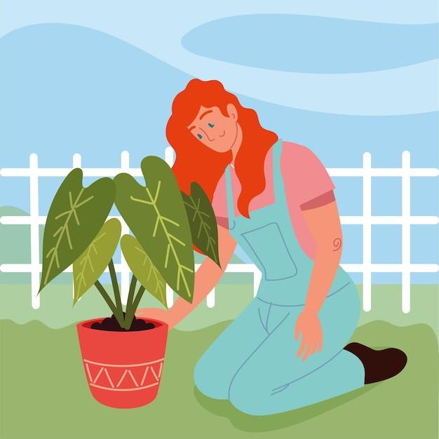 Kobieta z rośliną doniczkową