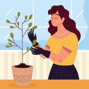Kobieta z rośliną w doniczce