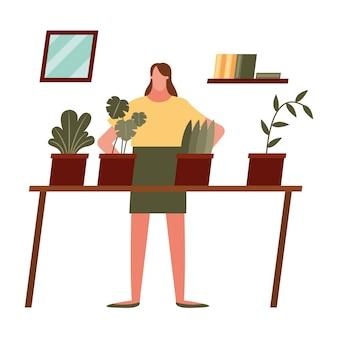 Kobieta z roślinami w domu projekt motywu aktywności i wypoczynku.