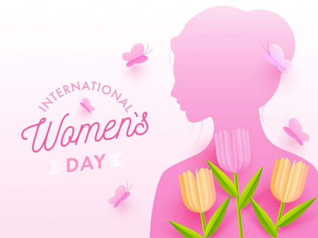 Kobieta z różową sylwetką z wyciętymi z papieru tulipanowymi kwiatami i motylami zdobionymi na białym tle na międzynarodowy dzień kobiet.