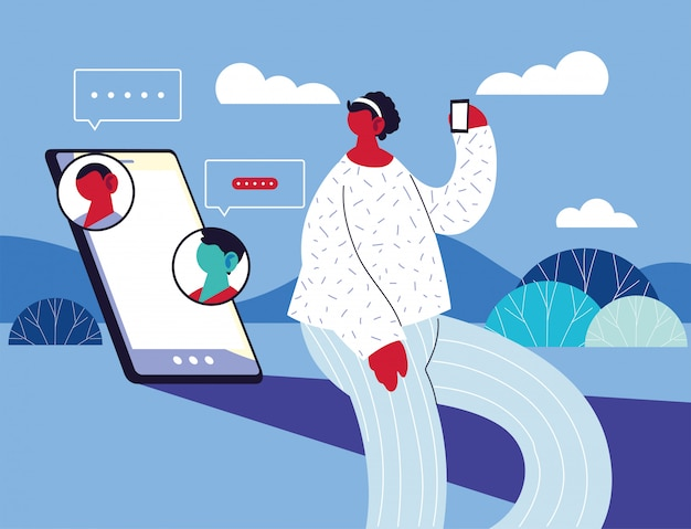 Kobieta z smartphone na czacie, czat bańka