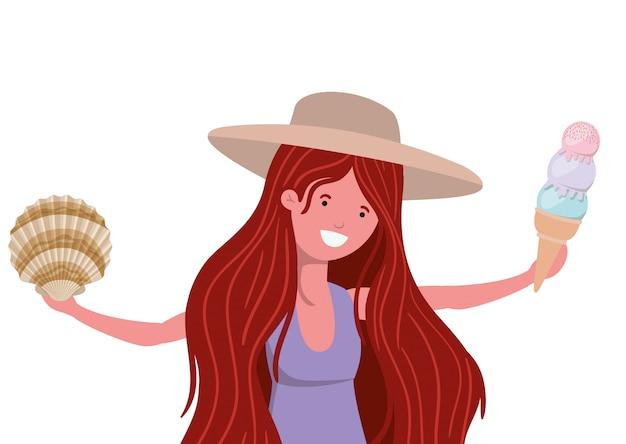 Kobieta z strój kąpielowy i lody na rękę