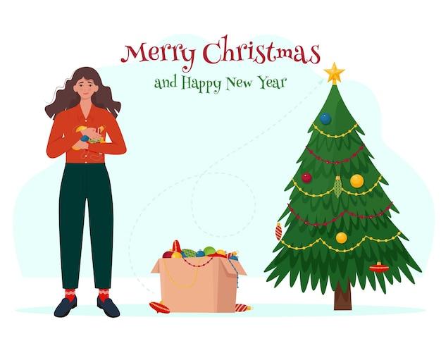 Kobieta z świątecznymi zabawkami ozdabia choinkę ilustracja wektorowa w stylu płaskiej kreskówki