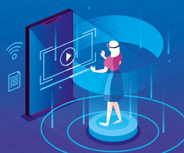 Kobieta z szkłami zwiększającymi rzeczywistość i smartphone wektorowy ilustracyjny projekt