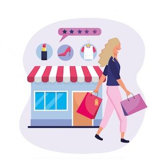 Kobieta z torba na zakupy i online rynek