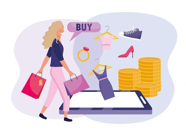 Kobieta z torby na zakupy i e-commerce smartphone