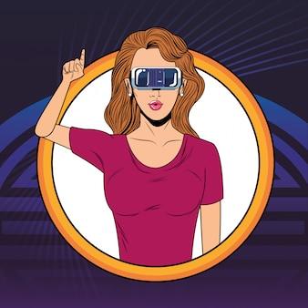 Kobieta z wirtualnej rzeczywistości słuchawki