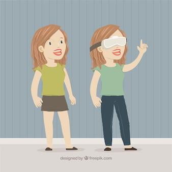 Kobieta z wirtualnych okularów rzeczywistości
