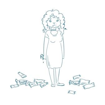 Kobieta z zaburzeniami odżywiania je produkty cukrowe