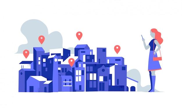 Kobieta za pomocą aplikacji do nawigacji. budynki miejskie z gps