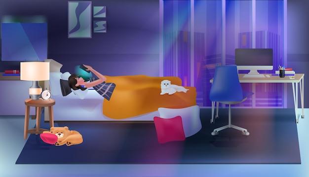 Kobieta za pomocą aplikacji na czacie na smartfonie sieć mediów społecznościowych koncepcja komunikacji online sypialnia wnętrze pełnej długości pozioma ilustracja wektorowa