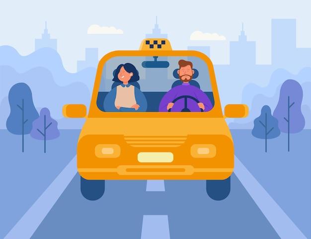 Kobieta za pomocą płaskiej ilustracji taksówki