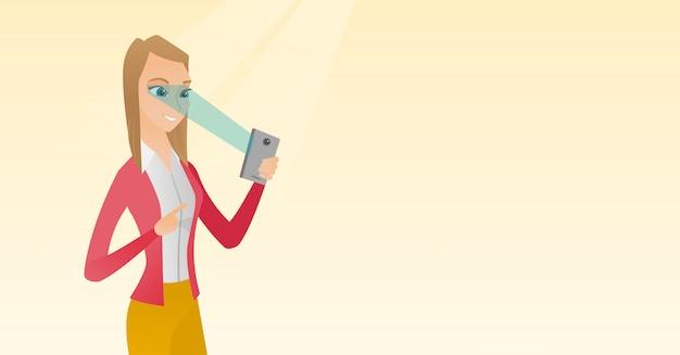 Kobieta za pomocą skanera tęczówki, aby odblokować telefon komórkowy