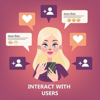 Kobieta za pomocą telefonu komórkowego. nastolatka komunikuje się ze znajomymi za pośrednictwem sieci społecznościowych za pomocą smartfonów. uzależnienie od internetu. ilustracja