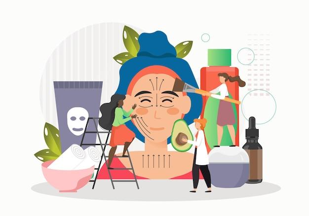 Kobieta zaczyna masaż twarzy