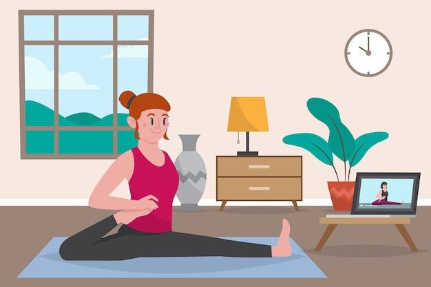 Kobieta zajęć sportowych online robi treningu
