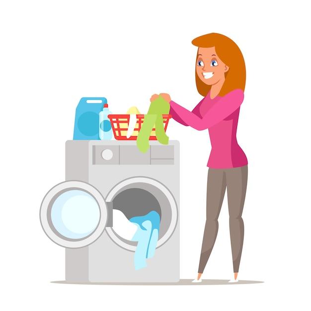 Kobieta zajęta brudną ilustracją prania, rysunkowa żona, matka wkładająca ubrania do pralki, urocza gospodyni domowa wykonująca prace domowe na białym tle, pralnia, sprzęt agd