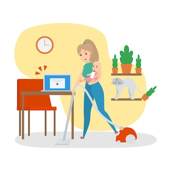 Kobieta zajęta pracami domowymi w domu