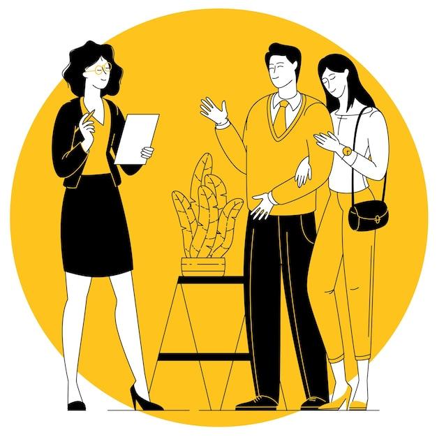 Kobieta zajmująca się handlem nieruchomościami pokazująca nieruchomość dla pary na zakup lub hipotekę