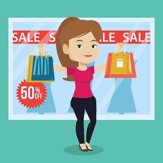Kobieta zakupy na sprzedaż wektoru ilustraci.