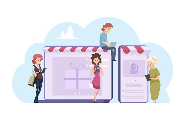 Kobieta zakupy online. rysunkowe kobiety z laptopem, smartfonami i sklepami internetowymi