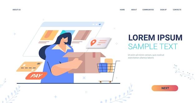 Kobieta zamawiająca towary w aplikacji komputerowej. strona docelowa usługi dostawy