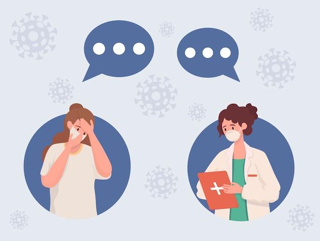 Kobieta zarażona koronawirusem dzwoniąca do lekarza płaska ilustracja. pielęgniarka i kobieta mówią.