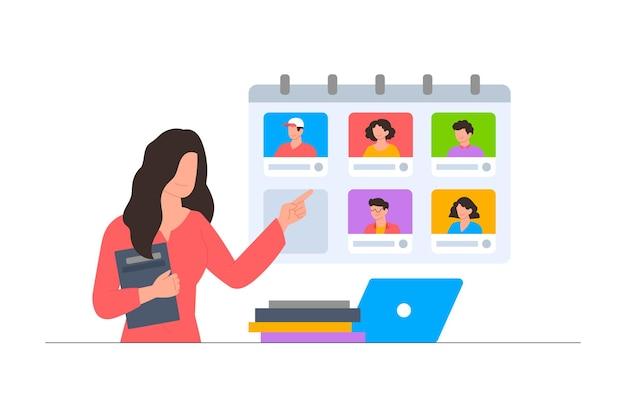 Kobieta zarządzająca harmonogramem za pośrednictwem sceny ilustracji online