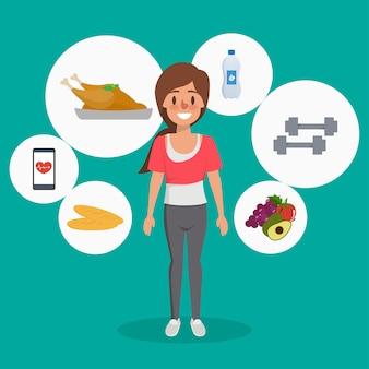 Kobieta zdrowego stylu życia infographic charakter.