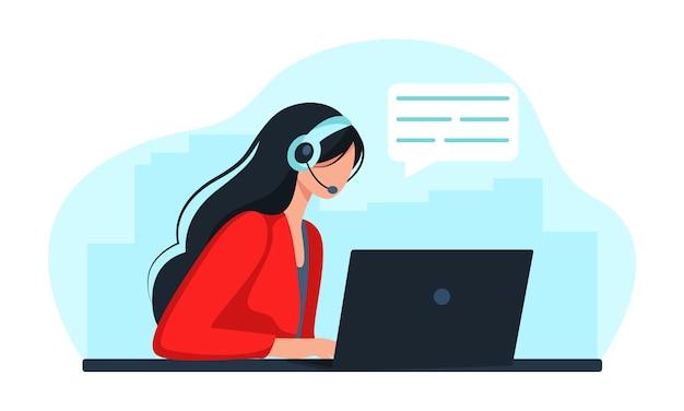 Kobieta ze słuchawkami i mikrofonem przy komputerze. ilustracja koncepcja wsparcia, pomocy, call center. skontaktuj się z nami. ilustracja w stylu płaskiej kreskówki