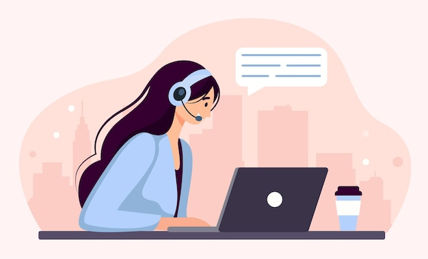 Kobieta ze słuchawkami i mikrofonem przy komputerze. ilustracja koncepcja wsparcia, pomocy, call center. skontaktuj się z nami. ilustracja wektorowa w stylu płaskiej kreskówki