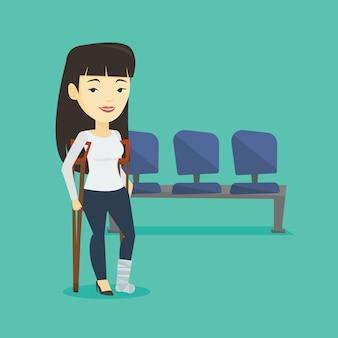 Kobieta ze złamaną nogą i kulami.