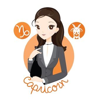 Kobieta ze znakiem zodiaku koziorożec